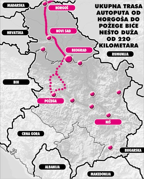 mapa autoputa srbije Autoput ka Crnoj Gori mapa autoputa srbije